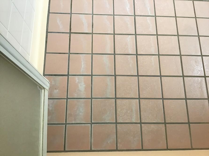 浴室床タイル水垢